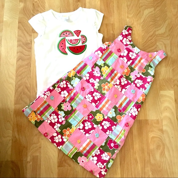 Baby Girl 6-12 Month Gymboree Pink Watermelon Fruit Print Tiered Top /& Shorts
